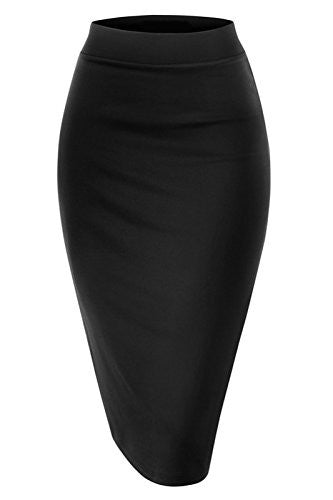 NBU Women Elastic Waist Band Stretchy Fabric Pencil Skirt