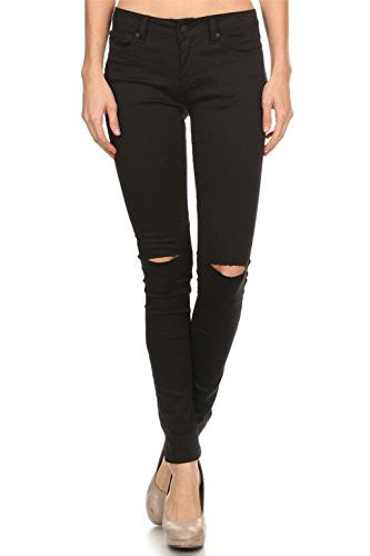 Vialumi Women Juniors Solid Slashed Slit Knee Distressed Skinny Jeans