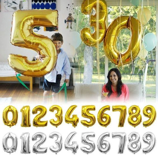 32 inches Gold Silver Number Foil Balloons