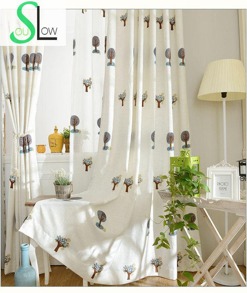 3D Colorful Tree Towel Embroidered Blackout Window Curtains