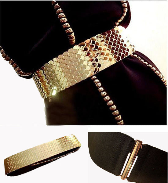 Gold Metal Fish Skin Belts for Women