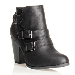 Forever Women's Buckle Strap Block Heel Ankle Booties