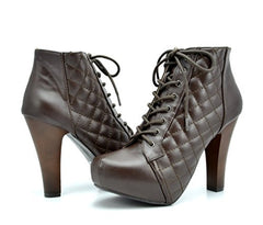 DREAM PAIRS SPEEDY Womens Chunky High Heel Lace Up Zipper Closure Ankle Boot Bootie