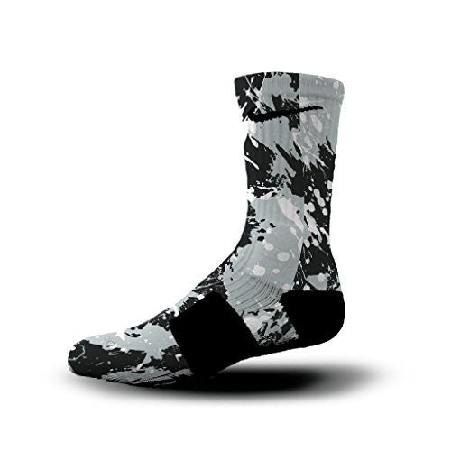 HoopSwagg Spurs Splatter Custom Nike Elite Socks