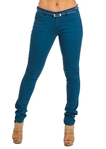 Womens Juniors Mid-Rise Blue Stretchy Skinny Jeans with Belt 10054L