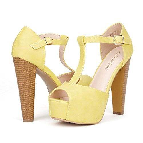 DREAM PAIRS LAURA Women's Peep Toe High Heel T-Strap Enjoyable Platform Pumps Sandals Shoes