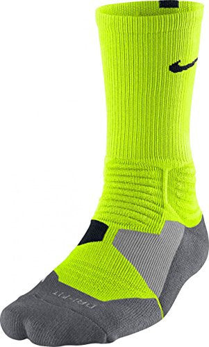 Basketball Socks -- Volt/Grey -- All Sizes (Large (8-12))