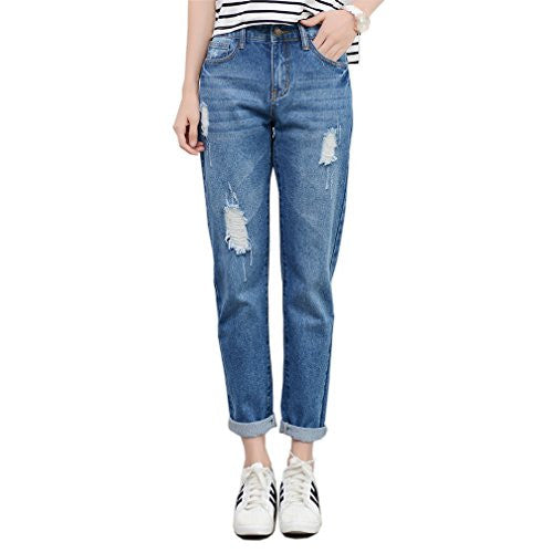 RieKet Distressed Crop Pants Ripped Boyfriend Jeans for Women Plus Size