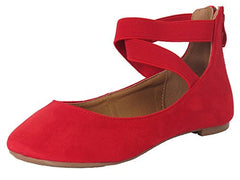 Women's Classic Ballerina Flats with Elastic Crossing Straps