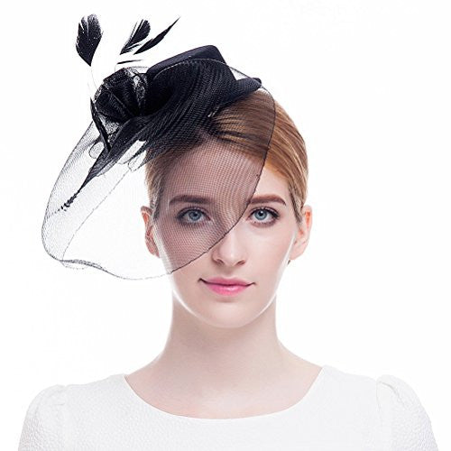Valdler Elegant Women Lady Girls Feather Net and Veil Fascinator Hair Clip Hat