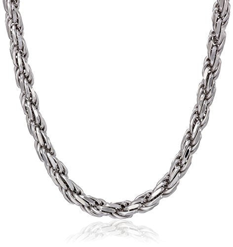 Men's Italian Sterling Silver Diamond Cut Rope Chain Necklace, 18-30""