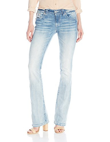 Miss Me Women's Bead Embellished Mid Rise Boot Cut Jean