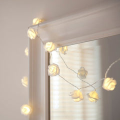 20LED Warm White Rose Flower Fairy String Lights 7.5 Feet Clear Cable Battery Powered