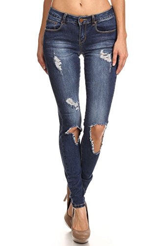 Vialumi Women's Juniors Torn Distressed Ripped Destroyed Stretch Skinny Jeans