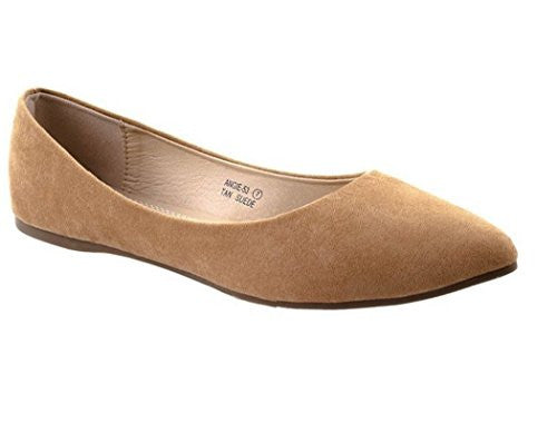 Bella Marie Women's Classic Pointy Toe Ballet Slip On Suede Flats