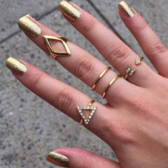 5 pcs /set Shiny Punk Polish Gold Silver Knuckle Rings