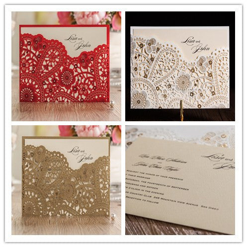 50pcs/set Gorgeous Lace Cut-out Wedding Invitation