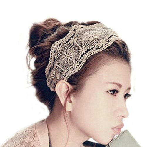 Womens Lace Headband Retro Hair Band Wide Headwraps Hair Accessories