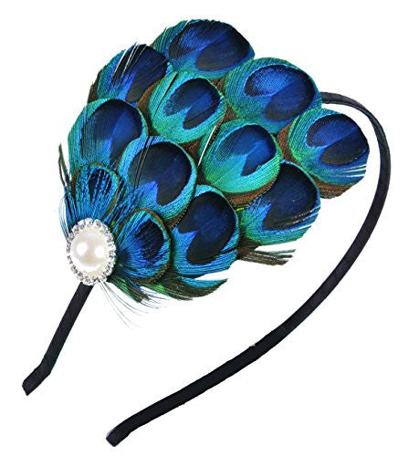 Fascinator Hair Hoop Peacock Feather Headband Bridal Headwear for Women