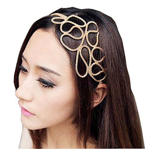Dreaman New Hot Fashion Hollow Out Braided Gold Head Band Stretch Hair Accessories