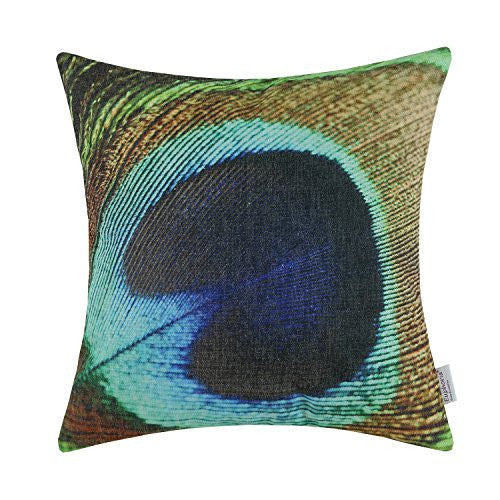"Euphoria Home Decorative Cushion Covers Vintage Peacock Feather Print 18"" X 18"""