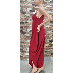 Red Spaghetti Strap Deep V Backless Sleeveless Casual Loose Rompers Jumpsuit