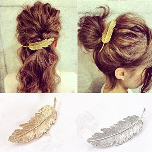 2pcs Leaf Design Punk Women Girl Hair Clip Pin