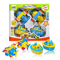 3 Bees and Me Set of 4 Boat and Airplane Toys, 2 Year Old and up