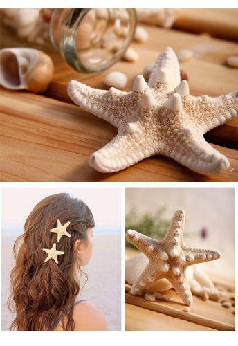3'' 2'' Huge Pretty Natural Starfish Star Hairpin Hair Clip Beige