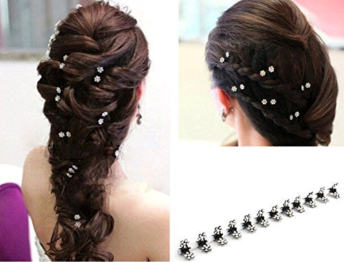 12 pcs of Elegant Mini Hairpin Rhinestone Flower Hairpin Jaw Clips For Wedding Party Prom