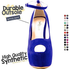 Women's Extreme High Fashion Ankle Strap Peep Toe Hidden Platform Sexy Stiletto High Heel Pump Shoes