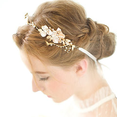 Gold Leaf Themed Crystal Pearl Bridal Headband Wedding Hair Accessories