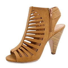 Womens Cut Out Strappy Buckle Sling Back Chunky High Heel Sandals