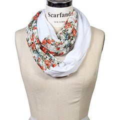 Scarfand's Romantic Rose Print Lightweight Infinity Scarf