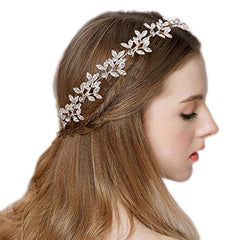 Women's Crystal Olive Leaf Romantic Bendable Ribbon Tie Headband Hair Accessory Bling Clear