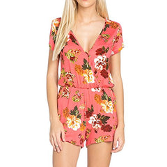 Fashionazzle Women's Floral Print Short Sleeve Romper
