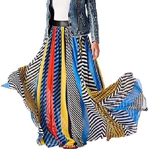 Colorful Print Chiffon High Waist Long Skirt XD126