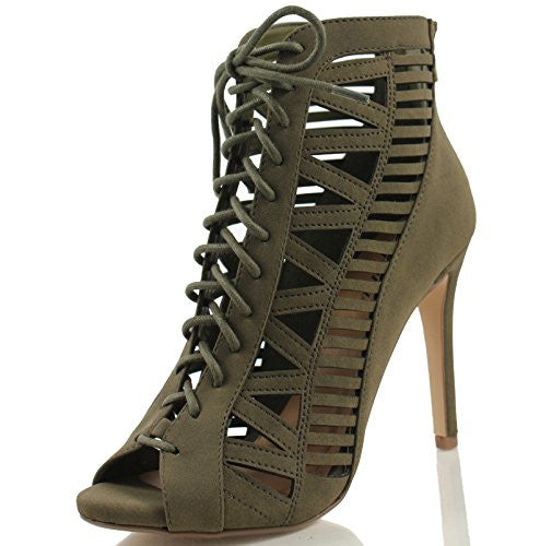 Beston BA83 Women's Zipper Lace Up Cut Out Stiletto Shoes Run One Size Smaller