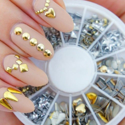 Professional 3D Nail Art Decorations Wheel With Gold And Silver Metal Studs