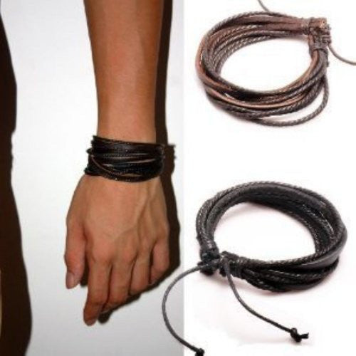 Adjustable Black & Brown Leather Wristband and Rope Cuff Bracelet, 18cm, 2-Pack