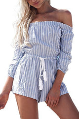 Simplee Apparel Women's Off shoulder Long Sleeve Striped Short Jumpsuit Romper