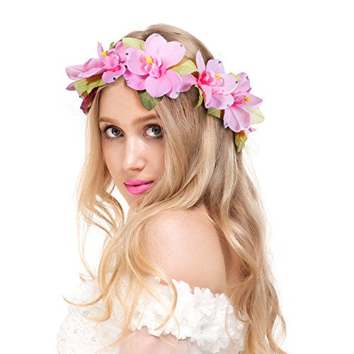 Valdler Plumeria Flower Headband Crown Garland Halo for Wedding Festivals (Pink)