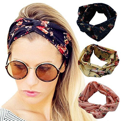 Ever Fairy Women Elastic Flower Printed Turban Head Wrap Headband Twisted Hair Band