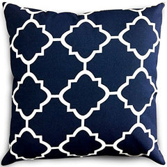 Decorative Square 18 x 18 Inch Throw Pillows Navy & White Moroccan Quatrefoil Lattice Cushion Pillow