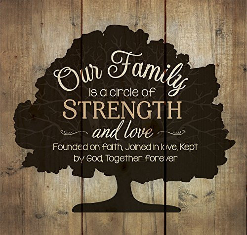 Our Family Circle of Strength Rustic Tree 10 x 10 Wood Pallet Design Wall Art Sign Plaque