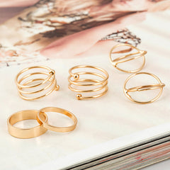 6Pcs punk gold plated stackable Knuckle midi rings