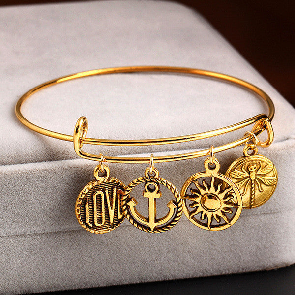 Alex and Ani Style Adjustable Anchor LOVE SUN Pendant Bracelet Cuff Bangles