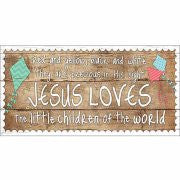 Jesus Loves The Children Wood Grain Canvas Art