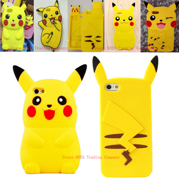 3D Pikachu  Silicone  Case For iPhone 7 4s 5 5s SE 6 6S plus For S4 s5 S6 S7 S7EDGE note3/4/5