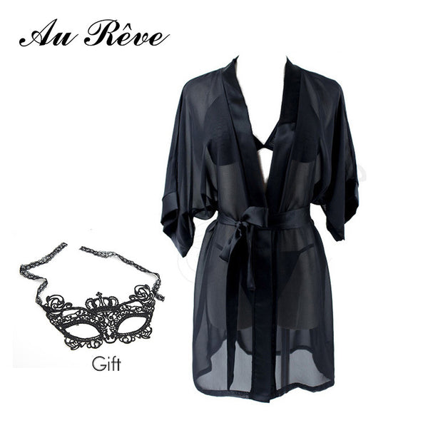 Au Reve Sexy Chiffon Black Lingerie with Mask Gift